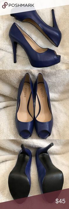 "🆕 Guess Women's Platform Open-Toe Heels Pumps 9M 🆕 Guess Women's Royal Blue Platform Open-Toe Stiletto Pumps, Size 9M. Command attention from one party to the next with this pair of platform pumps. Opt for a classic evening dress, red gloss and these heels to make a show-stopping entrance.  • Platform open-toe pumps • 4 ½"" heel • 1"" platform • Material: Leather Guess Shoes Heels"