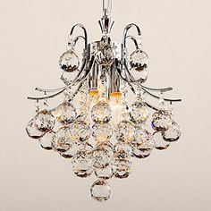 """Crystal Chandelier with 3 lights (Chrome Finish) - USD $ 159.99  semi flushmount  light in the box 14"""" x 12"""""""