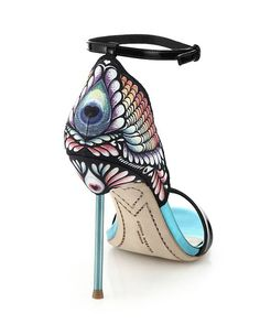 Sophia Webster Flutura Feather Printed-Back Metallic Leather Sandals