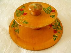 "VTG SHABBY SWEET WOODEN 2 TIER TIDBIT SERVER~HAND PAINTED STRAWBERRIES~5""X12"""