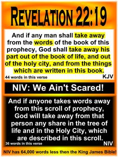 Don't mess with God's words! Get back to the King James Bible!