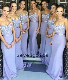 Elegant Mermaid Sweetheart Lavender Satin Bridesmaid Dress with Appliques 839692ae6063