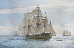 In this stunning image, #HMSVictory leads the Windward Squadron as the first part of the famous signal flies at the mizzen.  The Franco-Spanish line is seen ahead, with the Spanish flagship Santisima Trinidad on the left, her distinctive orange-yellow paintwork clearly discernible.  This is a definitive, highly detailed painting, a classic #GeoffHunt.  Full details can be found on page 1 of The Nelson Collection.  http://www.artmarine.co.uk/SearchPage.aspx