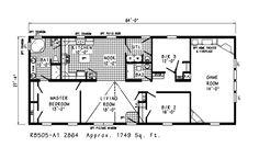 Cherry I floor plans.  A 3 bed / 2 bath modular home available at HomesbyVanderbuilt.com.