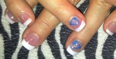 Butterfly french tips!  Pink and white French tip acrylic nails with stamped butterfly nail art and gel top coat.