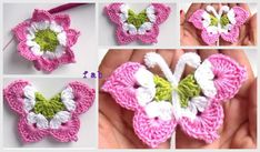 Crochet 3D Butterfly Free Pattern-Video: crochet a eight pointed flower and fold them into a butterfly. Pattern in English and Spanish.