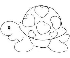 a turtle with hearts applique Applique Templates, Applique Patterns, Applique Quilts, Applique Designs, Embroidery Applique, Quilt Patterns, Embroidery Designs, Owl Templates, Sewing Appliques