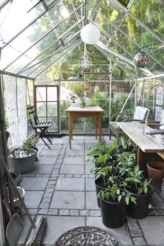 Green house and shed.