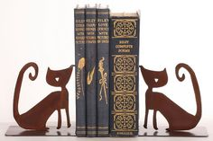 Sweet Kitty Cat Bookends for Cat Pet Lovers by EarthStudioMetalArt