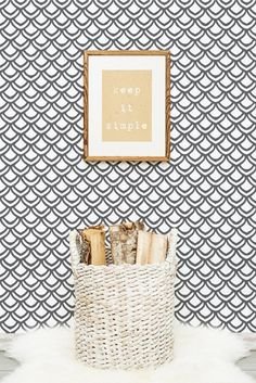 Scandinavian interior with fish scale wallpaper. Color can be customized.