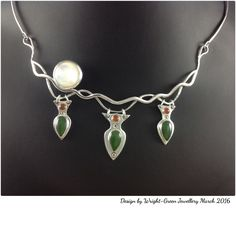 Fishing Time...Sterling silver necklace with mother-of -pearl carnelian and jade cabochons