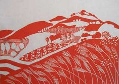 Angela Newberry: Land of Milk and Honey V , 30 by 40 cms, Linocut on Hosho paper