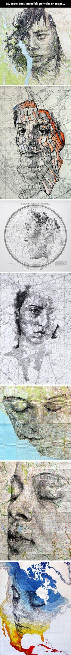 Portraits on maps.
