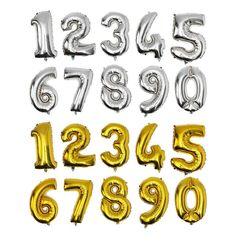 [Visit to Buy] 32inch Number foil balloons blanco gold silver big ballon number 1 2 3 4 5 6 7 8 9 0 optional age birthday party #Advertisement