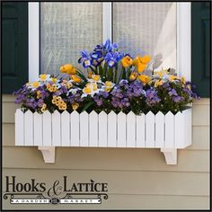 white picket fence window planter   Our Picket Fence window boxes are made with a reinforced back panel ...