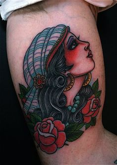 Gypsy Girl Tattoo • by Marco Cerretelli at The Honorable Society, Los Angeles