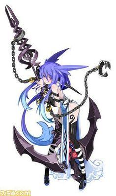 Anime art   manga female character warrior, magician   huge weapon spear hook   purple hair, dipsey #mangaart