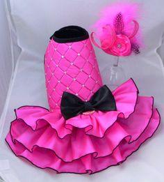 Small dog harness dress.Pink. Tutu skirt