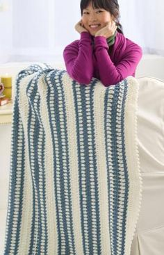 Blue Ice Throw Free Crochet Pattern from Red Heart Yarns