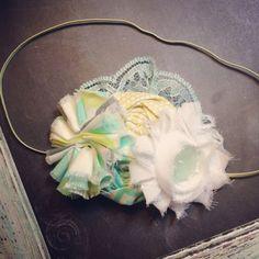 Ava--Pale Yellow, Aqua and white infant rosette headband, Harper Lane Boutique, little girl bow. on Etsy, $14.00