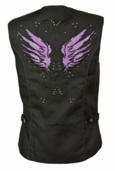 Milwaukee Night Reflective Purple Angel Wings Womens Textile Motorcycle Vest is made of 1300d heavy nylon with hidden zippers and purple night reflective angel wings on the back for safety and the most stylish look.
