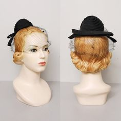 1950s Tilt Hat  Black Beehive Veiled 50s by OldFaithfulVintage, $23.00