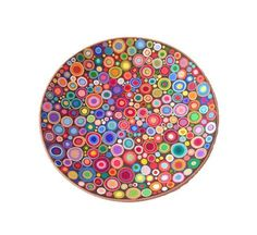 """Decorative plate """"Circles"""", hand painted wall hanging plate, wall decorations, spring and summer home decor, ceramic wall art"""