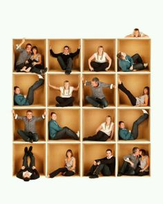 Family photo using a large cardboard box. Individual shots combined to make a collage! Next yr Johnson family card?