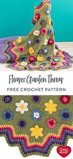Flower Garden Throw free crochet pattern in Red Heart With Love. This field of flowers gives a feminine touch to your decorating scheme. The crocheted hexagon flower motifs are surrounded by the perfect rainbow of rippling shell stitches. This is a beauty that will please all ages!