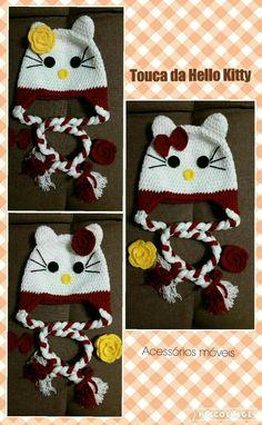 Touca da Hello Kitty utilizando a técnica do crochet.