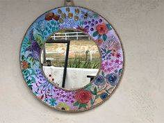 Country cottagecore mirror, boho floral decorative wall art, large round handpainted mirror, watercolor flower wall art, country decor Shabby Chic Jars, Shabby Chic Wall Decor, Wall Art Decor, Cottage Mirrors, Heart Mirror, Mirror Collage, Vintage Jars, Wall Crosses, Light Turquoise