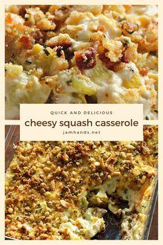Cheesy Squash Casserole Squash Zucchini Recipes, Yellow Squash Recipes, Summer Squash Recipes, Vegetable Recipes, Vegetarian Recipes, Cooking Recipes, Squash Casserole, Casserole Dishes, Baked Squash