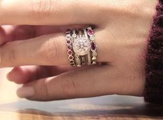 Engagement Band Ring around the rubies! Enhance your engagement ring and wedding band with these simply beautiful white gold, diamond and ruby stackable fashion rings. Diamond Bands, Diamond Wedding Bands, Diamond Engagement Rings, Oval Engagement, Solitaire Diamond, Engagement Bands, Ruby Wedding Rings, Bridal Rings, Stacked Wedding Rings