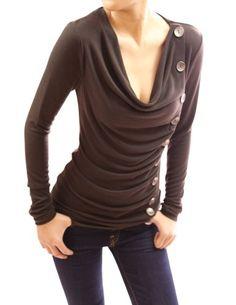 Patty Women Cowl Neck Button Embellished Ruched Blouse Top (Brown 12) PattyBoutik http://www.amazon.co.uk/dp/B005UVM390/ref=cm_sw_r_pi_dp_gU5aub0NBDGJK