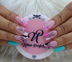 Neon Nails, Love Nails, Acrylic Nail Art, Acrylic Nail Designs, Nail Manicure, Pedicure, Hot Nail Designs, Semi Permanente, Glitter Acrylics