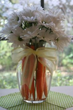 Easter Centerpiece - Super Easy, Super Inexpensive, Super Cute @ decorating-by-day ~ DAISIES!! :)