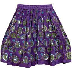 Boho Mini Skirt Sequins Dcrapechic Beaded Purple Beach Miniskirt (65 RON) found on Polyvore