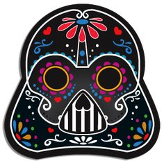 Darth Vader sugar skull sticker. Perfect for your vehicle car window, skateboard, locker,suitcases, mobile phones, tablets, guitars, electronics, laptops…or just collecting! 3″ Contour Cut Sticker Vinyl/PVC Water / UV resistant Sticks on almost any surface Long lasting stick / no adhesive residue