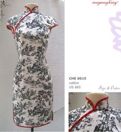 qipao or cheong sam (traditional Chinese dress) in toile!!!  Two of my very favorite things together.  sigh...
