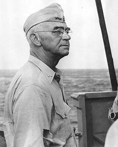 Rear Admiral Richmond Turner aboard a ship off Kwajalein, Marshall Islands, 18 Feb 1944.