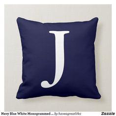 Blue And White Pillows, Blue Throws, Custom Pillows, Art Pieces, Kids Shop, Monogram, Throw Pillows, Fabric, Gender