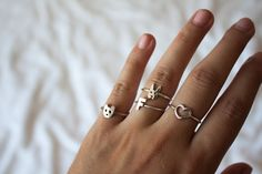 what-do-i-wear: Three Karen Walker rings and 'F' ring gifted from Stylecult. Sometimes it's the little things (image: opinionslave) Fashion Accessories, Fashion Jewelry, Rings N Things, Karen Walker, Diamond Are A Girls Best Friend, Ring Earrings, Jewelery, Silver Jewelry, Jewelry Design