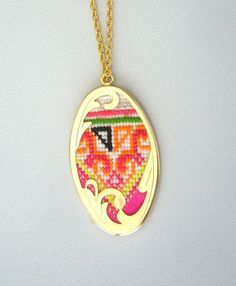hand embroidery necklace. $25.00, via Etsy.  (This looks like Hmong hand stitching)