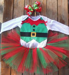 Baby girl Custom Elf tutu outfit/costume with matching hairbow on Etsy, $40.00