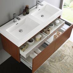 Fresca 48 Inch Mezzo Modern Double Sink Vanity with Integrated Sink – Teak – Bathroom Inspiration Modern Bathroom Cabinets, Double Sink Bathroom, Single Bathroom Vanity, Vanity Sink, Modern Bathroom Design, Bath Vanities, Bathroom Interior Design, Bathroom Ideas, Downstairs Bathroom