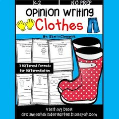 Clothes Opinion Writing by Sherry Clements Writing Lines, Opinion Writing, Writing Skills, Class Activities, Writing Activities, Educational Activities, Sentence Starters, Opinion Piece, One Clothing
