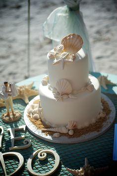 # aqua beach wedding cake