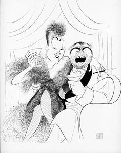 """Al Hirschfeld ~ Unlikely Casting: Ethel Merman and Ernest Borgnine in """"Private Lives"""""""