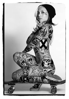 "cerysaprees: """"Tattooed Skater Girls"" series by Mike Giant I need to look for my old skool deck… "" Mike Giant, Tattooed Women Full Body, Face Tattoos For Women, Tattoo Women, Tattoo Girls, Girl Tattoos, Body Tattoo Design, Full Body Tattoo, Tattoo Designs"