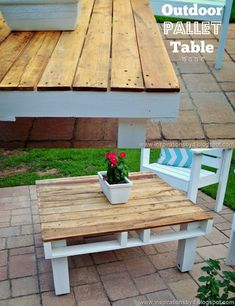 DIY Outdoor Pallet Table | Step by Step DIY Outdoor Pallet Furniture by DIY Ready at http://diyready.com/diy-pallet-projects-outdoor-furniture/